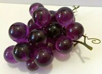 Vintage Mid Century Lucite Acrylic Purple Grapes Cluster - Twisted Wire Spine