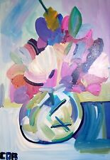 FLORAL EXPRESSIONISM NEW PAINTING ON CANVAS ORIGINAL MODERN FLOWER ART DECOR