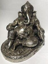 Lord Ganesha Idol Statue Silver Plated Brass Hindu God Thailand