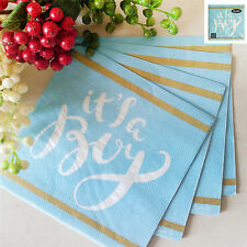16Pk 33X33Cm Baby Shower Lunch Napkins Blue Party Its a Boy Luncheon Serviette