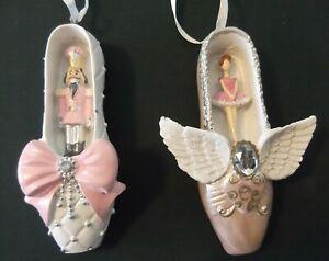 2 Ballerina Ballet Shoe ornaments, nutcracker & ballerina, LAST SET! NWT