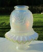 Fenton French Opalescent Persian Medallion Embossed  3/pc. Fairy Lamp Gorgeous
