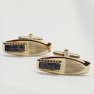 Vintage 1950's Mid Century Gold Tone Men's Cufflinks Black Swirl Art Deco Modern