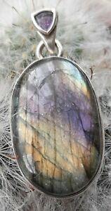 Beautiful Sterling Silver Labradorite and Amethyst Pendant