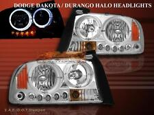 Dodge Dakota Durango Headlights Chrome Twin Halo LED 97 98 99 00 01 02 03 04