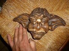 Moulage Platre Tete de Gnome Gothique Grotesque Heros Fantastique Signé ZILAS