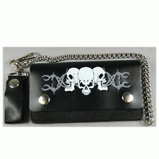 """SKULLS BARBED WIRE LEATHER 6"""" WALLET WITH CHAIN"""