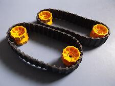 2 lego black technic mindstorm robotics tank tracks/treads w/ yellow hubs