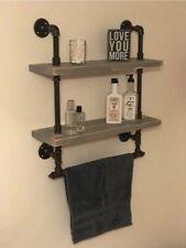 "Rustic 2 Tier Bathroom Shelves With Towel Bar 24"" Reclaimed Wood Industrial Pipe"