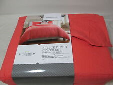 New Threshold Linen/Cotton Blend Full/Queen Duvet Cover & Shams Set ~ Coral NIP