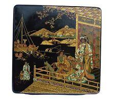 Antique French Black Lacquer Papier Mache Chinoiserie Box - Napoléon III Chinese