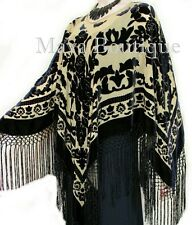 Poncho Kimono Fringe Top Shawl Beige & Black Silk Burnout Velvet Maya Matazaro