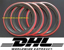 "Classic Oldtimer 16"" Black&Red Wall Portawall Tire insert trim set x4"