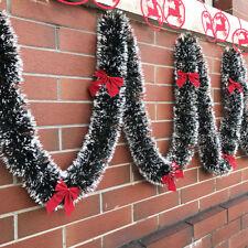 1x 200cm Christmas Tinsel Garland Luscious Xmas Snow Tips Holly Dark Green&White