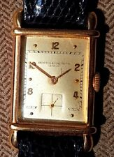 VINTAGE 1938 VACHERON CONSTANTIN 18K GOLD RECTANGULAR MEN'S WATCH UNUSUAL DIAL
