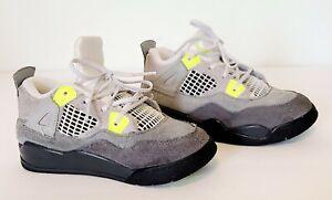 Nike Air Jordan IV 4 Retro SE Kids Shoes SZ 10C Neon Green Gray CT5345-007