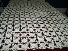 Vintage Hand Crochet Cotton Ecru Tablecloth 64x52