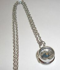 Sterling Silver Mini LOCKET w/ Nautical WORKING COMPASS Pendant Charm Necklace