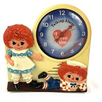 Vintage 1974 Janex RAGGEDY ANNE & ANDY Talking Alarm Clock - PARTS OR REPAIR