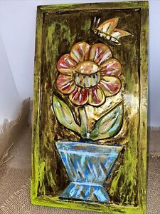 pair of vintage carved & painted wood wall plaques art panel still life flowers