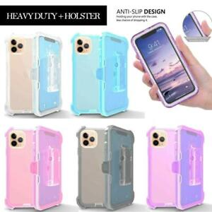 Heavy Duty CLEAR Military Case For iPhone 11 Pro Max Clip Fit Otterbox Holster