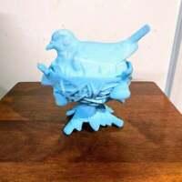 Vintage Westmoreland Robin on Nest Antique Blue Satin Glass Candy Dish