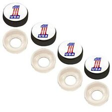 4 Black Custom License Plate Frame Screw Snap Caps Covers USA #1 Flag Wht