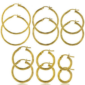 9CT GOLD HOOP EARRINGS CABLE CREOLE TWISTED TUBE PATTERENED SLEEPERS LOOPS BOX