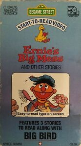 Sesame Street Start-To-Read Video Ernie's Big Mess & Other Stories VHS 1987 RARE