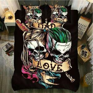 Eternal Love Skull Bedding Set Duvet Cover and Pillowcase Double King Super King