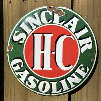 VINTAGE SINCLAIR PORCELAIN SIGN BUTTON TRACTOR FARMING OIL GAS PUMP PETROLIANA