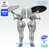 1/24 Unpainted Resin Figure Model Kits Sexy Woman With Bikini Statue Garage Kit