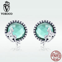 Voroco S925 Sterling Silver Stud Earrings Mermaid's Love With Green CZ Jewelry