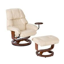 Southern Enterprises Taupe Leather Recliner & Ottoman UP7632RC Recliner NEW
