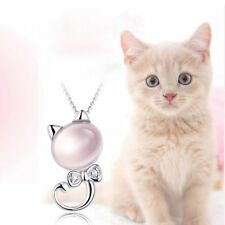 Furong Stone Cat Pendant Kitten Powder Crystal Pendant Necklace Diamond Bow