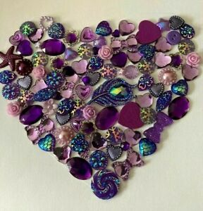 100 x Mixed Purple Embellishments Hearts Resin Pearls Bow Flowers Stars Buttons