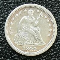 1844 Seated Liberty Half Dime 5c High Grade AU - UNC #13793