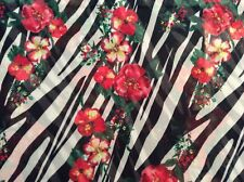 "red flower zebra animal stripe print polyester chiffon fabric, 60""w, sold BTY"