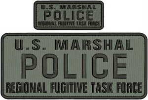 U.S. MARSHAL POLICE R FUGITIVE TASK FORCE EMB PATCH 4.75x11 & 2x5 HOOK/gray/blk