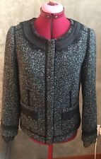 Rebecca Taylor Lace Trim Wool Blend Speckled Tweed Blazer Jacket Celebrity Royal