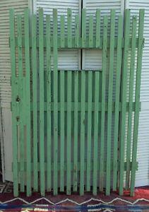 Antique Farmhouse Barn Garden Wood Door Wooden Slat Gate Green Weathered Damage