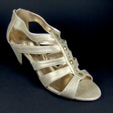 KALEIDOSCOPE Ladies Pale Gold Leather Gladiator Slave Sandals Shoes Size 6 EU 39