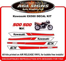 1987 - 1993  KAWASAKI EX500  Reproduction White Decal Set   EX 500 NINJA