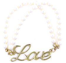 Color oro la palabra amor y perla pulsera elástica