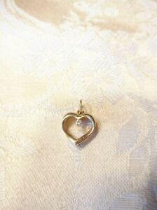14K Yellow Gold Open Heart Diamond Pendant (K42)