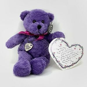 "Princess Valentines Day Purple Plush Bear 'My Worry Bear"" Heart Necklace Easter"
