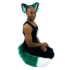 PAWSTAR FOX EArs & TAIL Set - COSTUME FURRY wolf White Big Green [GN/WH]4001
