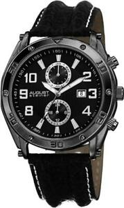August Steiner AS8117BK Month Date GMT 30M WR Leather Strap Black Mens Watch