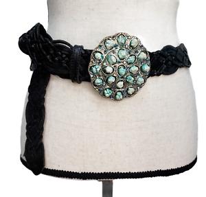 Leatherock Belt Women's Black Woven Leather Silver Buckle Green Stones Size 36