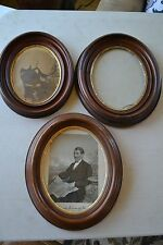 3 Victorian Wallnut Oval Picture Frames 1800's vintage